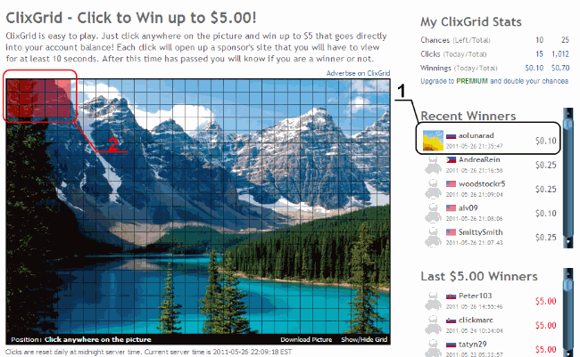 ClixGrid - Click to Win up to $5.00!